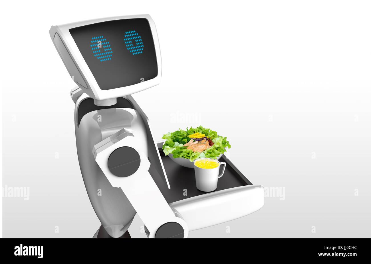 Tendencias tecnología robótica concepto empresarial. Asistente personal autónomo robot personal para servir zumo Foto de stock