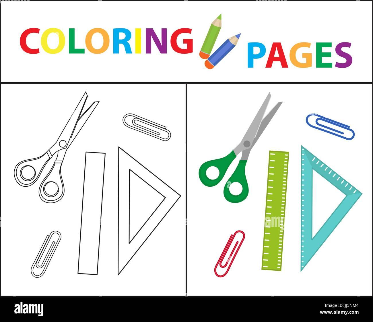 Coloring Book página. Volver a la escuela, tijeras, regla, clips ...