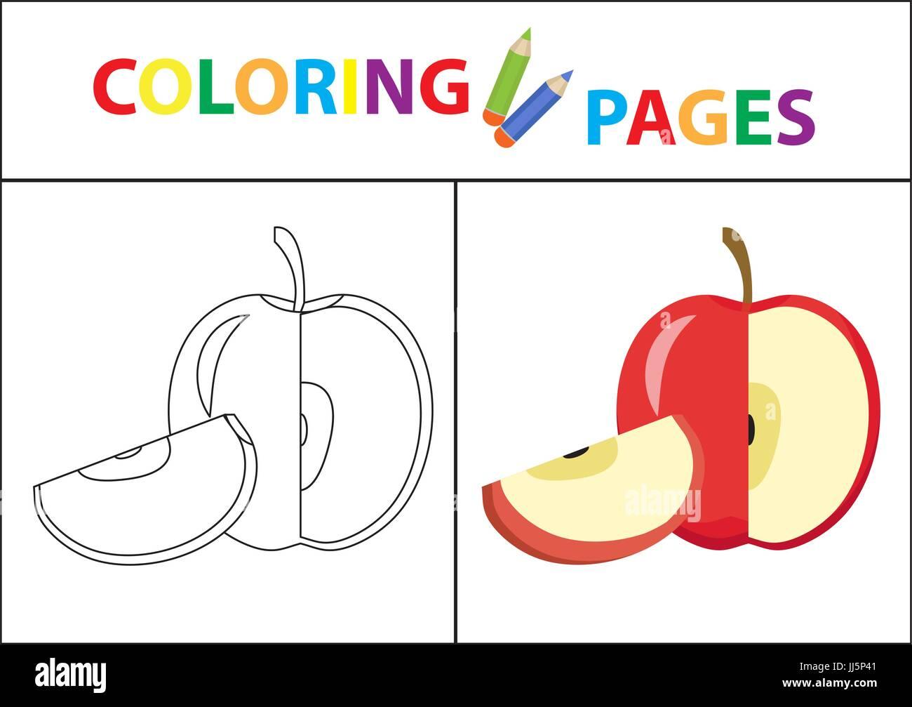 Coloring Book página. Esquema de boceto y la versión en color ...