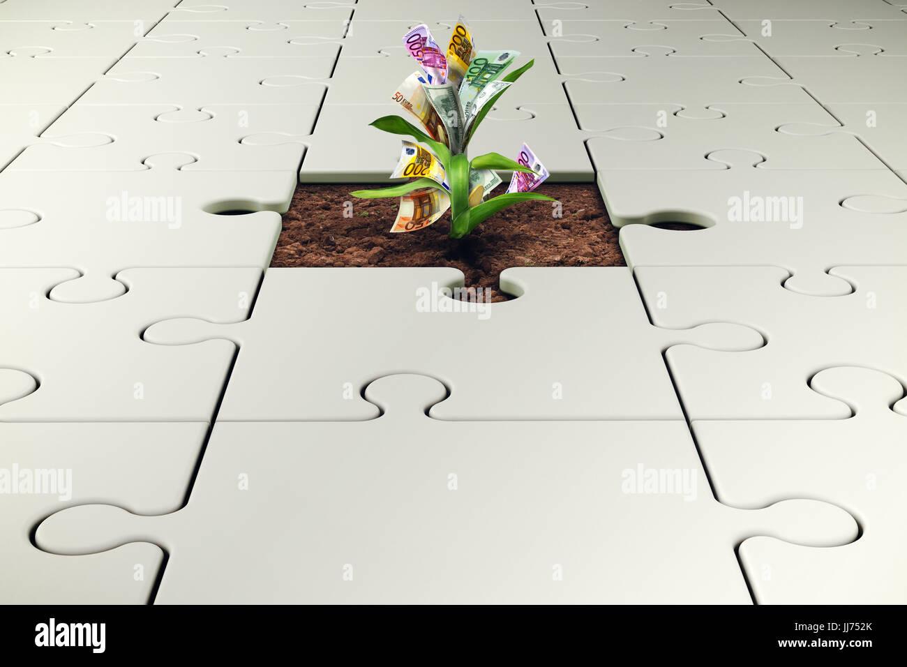 Planta con dinero crece a partir de una pieza faltante del rompecabezas Foto de stock