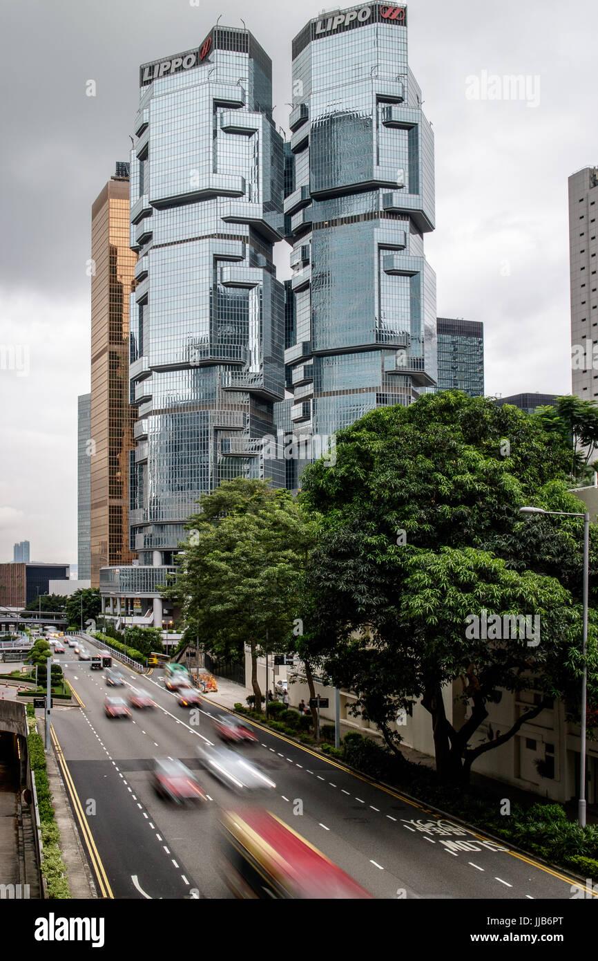 Twin lippo edificios con el lejano oriente edificio detrás de las finanzas, y ocupado de Cotton Tree Drive, Imagen De Stock