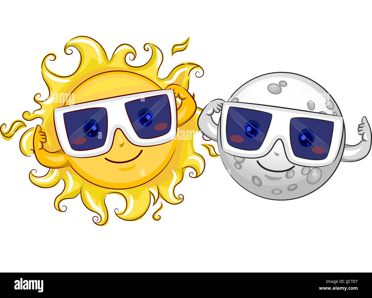Ilustración de una mascota feliz Sol y Luna llevar gafas protectoras en  preparación de un Eclipse a26d0463811