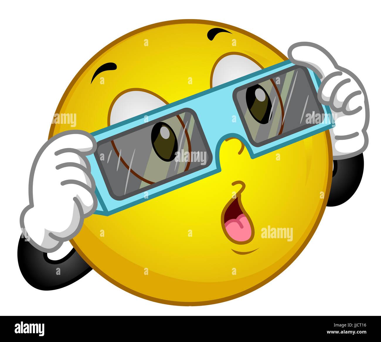 Ilustración de una mascota emoticono feliz llevar gafas protectoras en  preparación para ver un eclipse Imagen fca903ccc8d