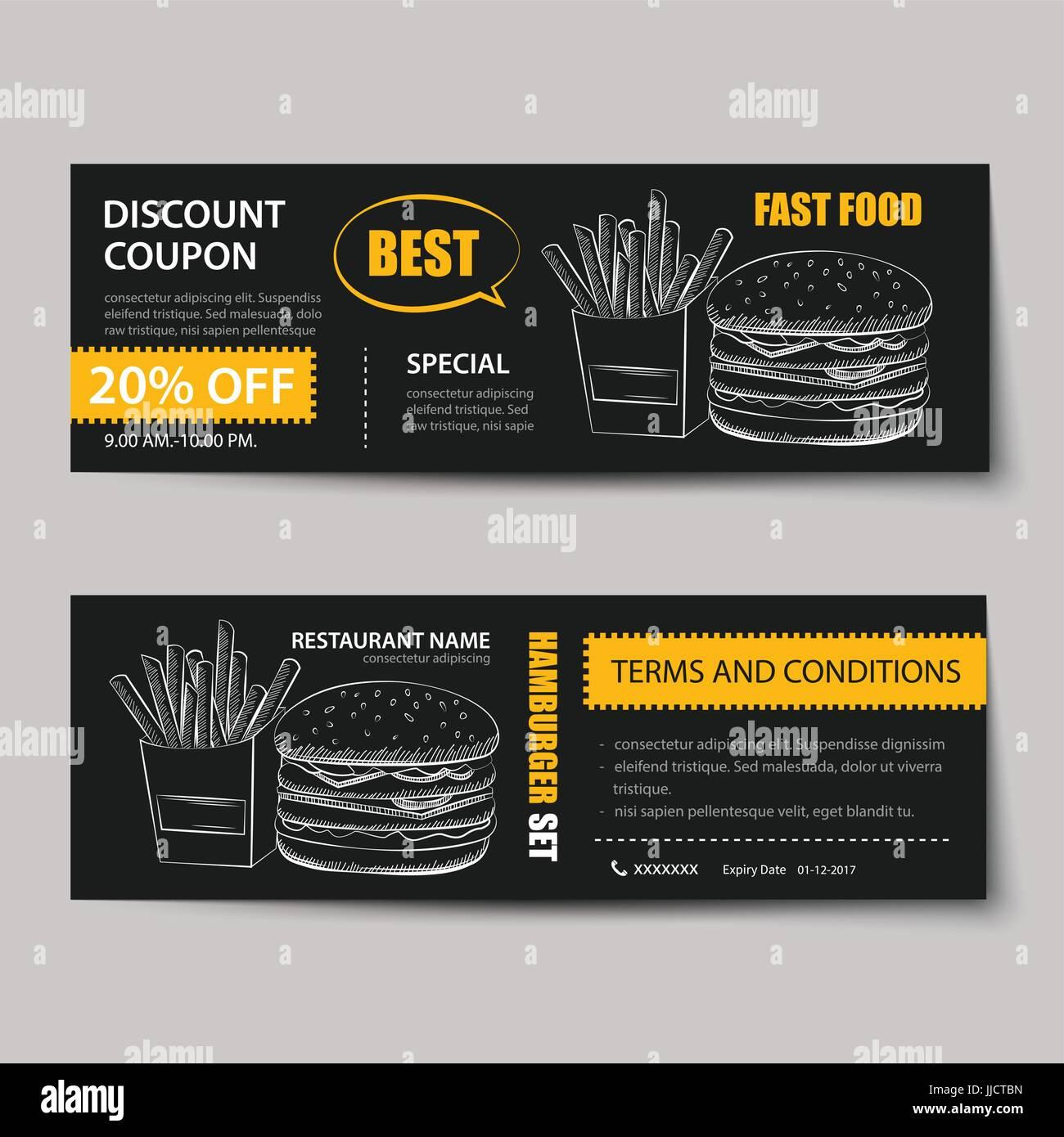 Cupón de descuento de comida rápida plantilla diseño plano ...
