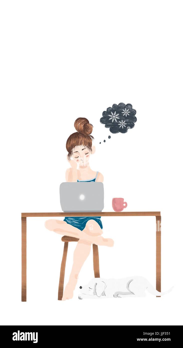 Chica sentada delante de su ordenador portátil soñando con ir de vacaciones a un clima frío Foto de stock