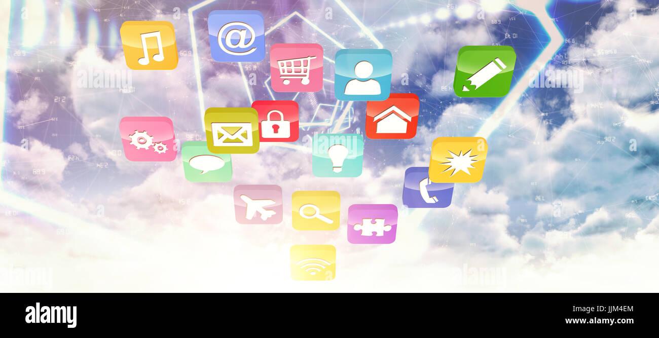 Imagen 3D compuesto de coloridas aplicaciones informáticas Imagen De Stock