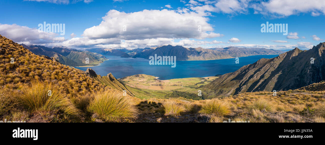 Vista del lago en el paisaje de montaña, paisaje accidentado, el lago Hawea, Otago, Isla del Sur, Nueva Zelanda Imagen De Stock