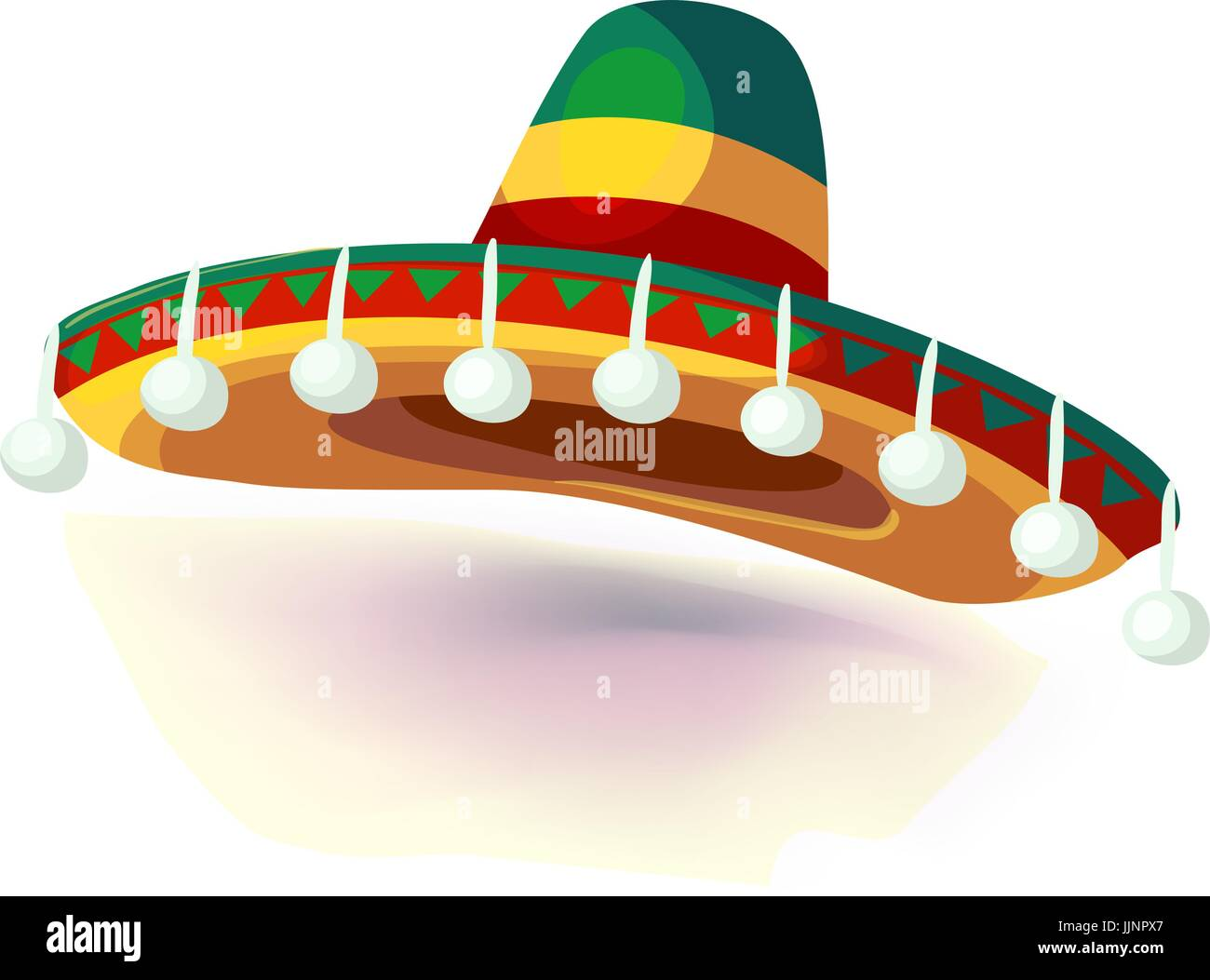 Ilustración vectorial. sombrero Sombrero Mexican Hat sobre fondo blanco. masquerade tocado o disfraz de carnaval Ilustración del Vector