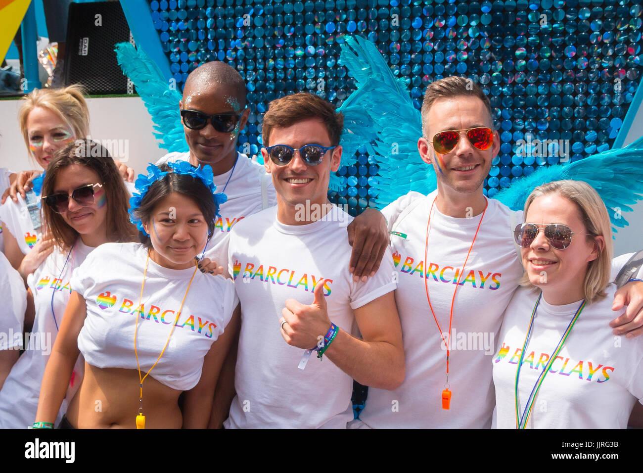 Tom Daley en Pride en Londres 2017 Foto de stock