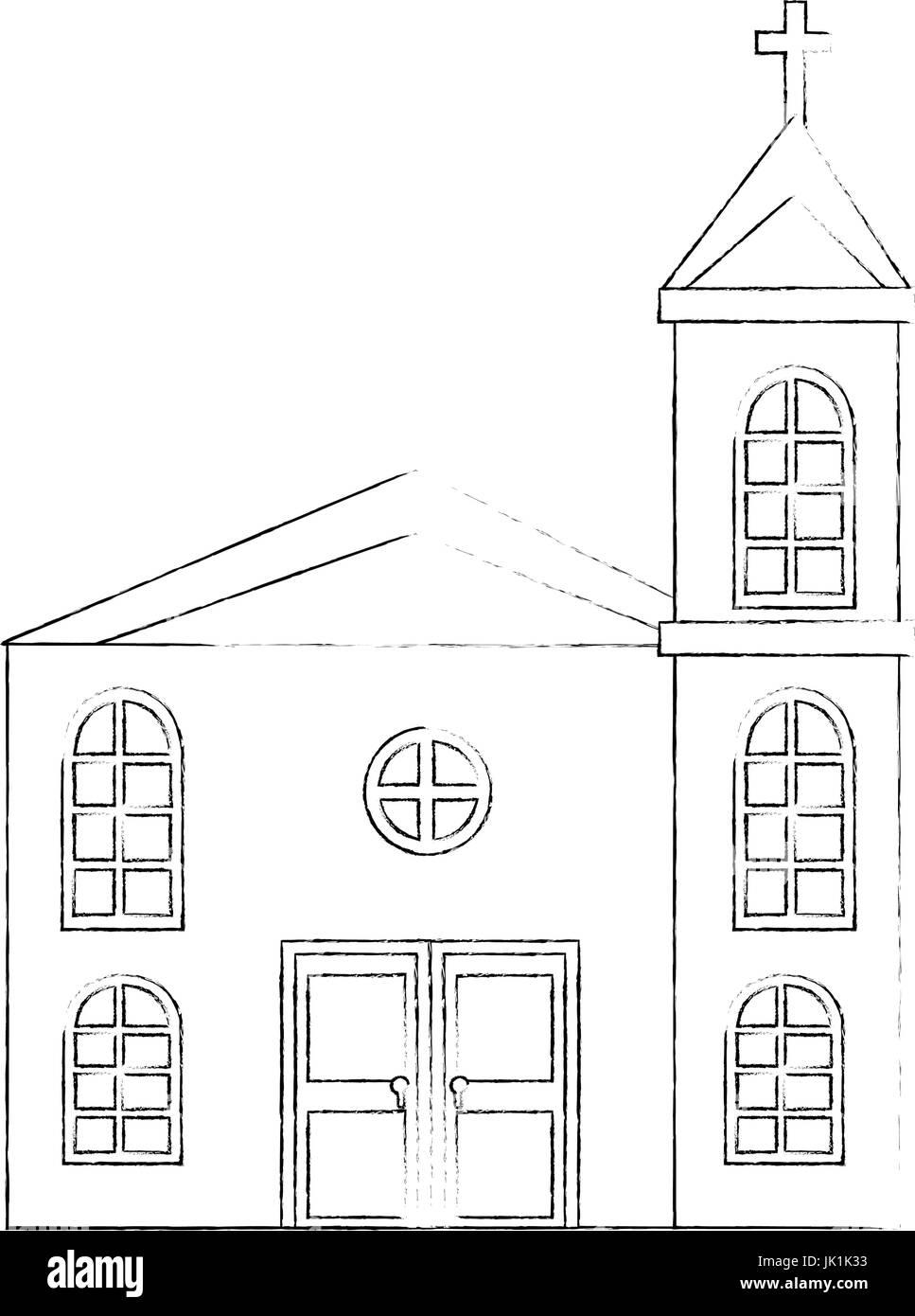 Icono de la iglesia sobre fondo blanco ilustración vectorial Ilustración del Vector