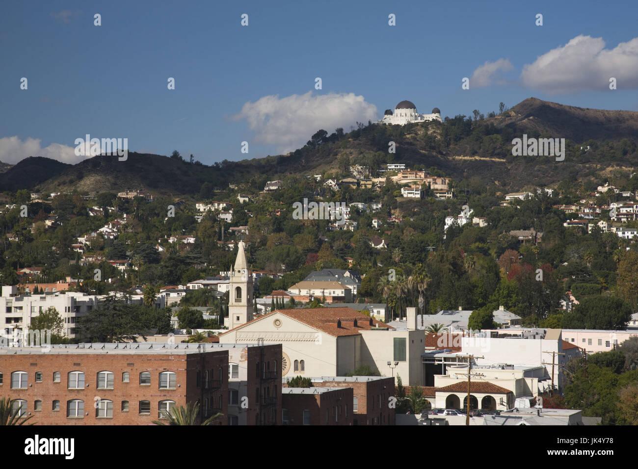 California, Estados Unidos, Los Angeles, Loz Feliz vecindario y el Griffith Park Observatory Imagen De Stock