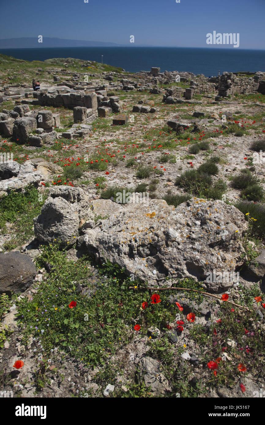 Italia, Cerdeña, región de Oristano, península de Sinis, Tharros, ruinas de la antigua ciudad Fenicia Foto de stock