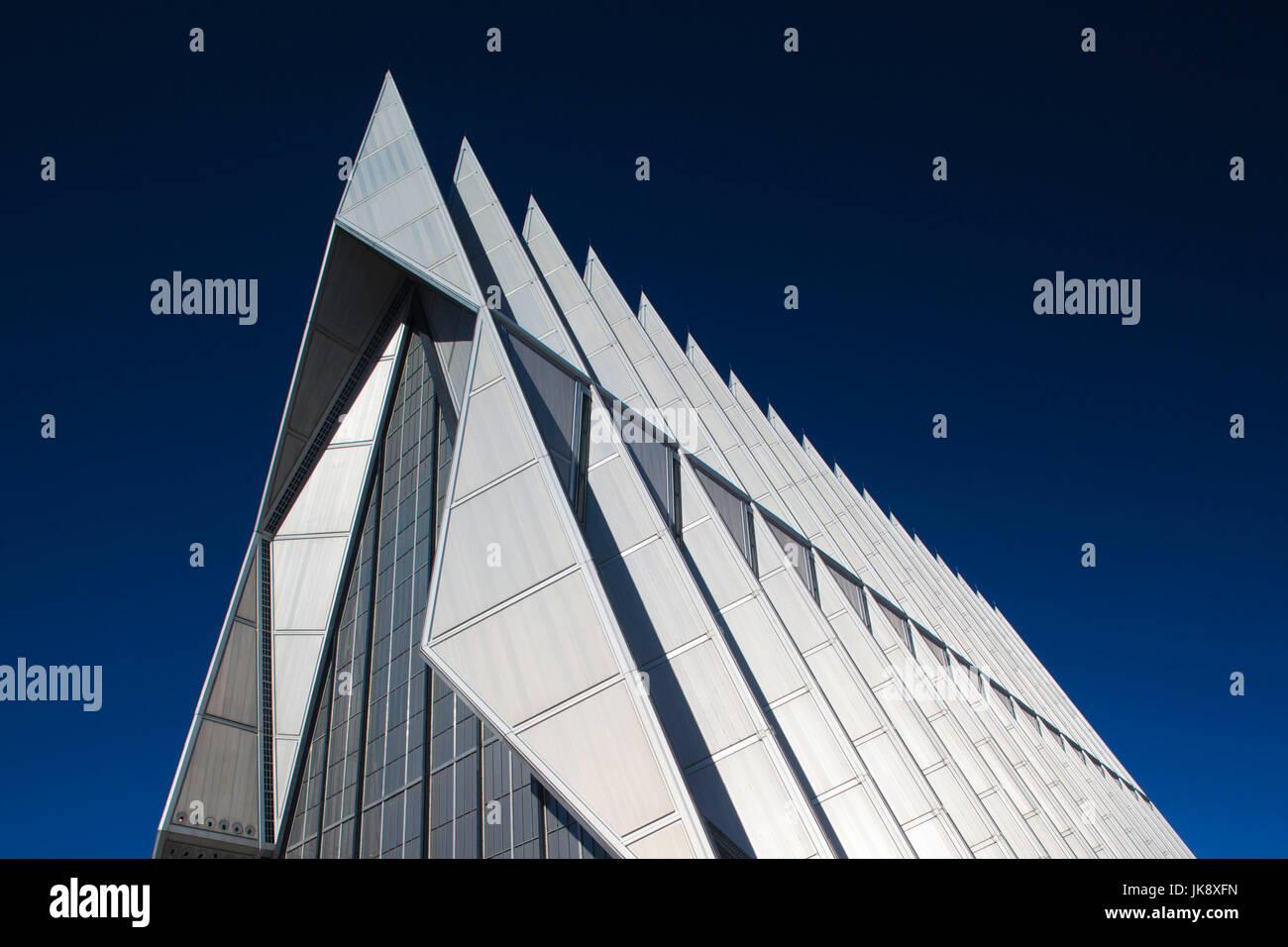 Ee.Uu., Colorado, Colorado Springs, Academia de la Fuerza Aérea de los Estados Unidos, la Capilla Cadete, exterior Foto de stock