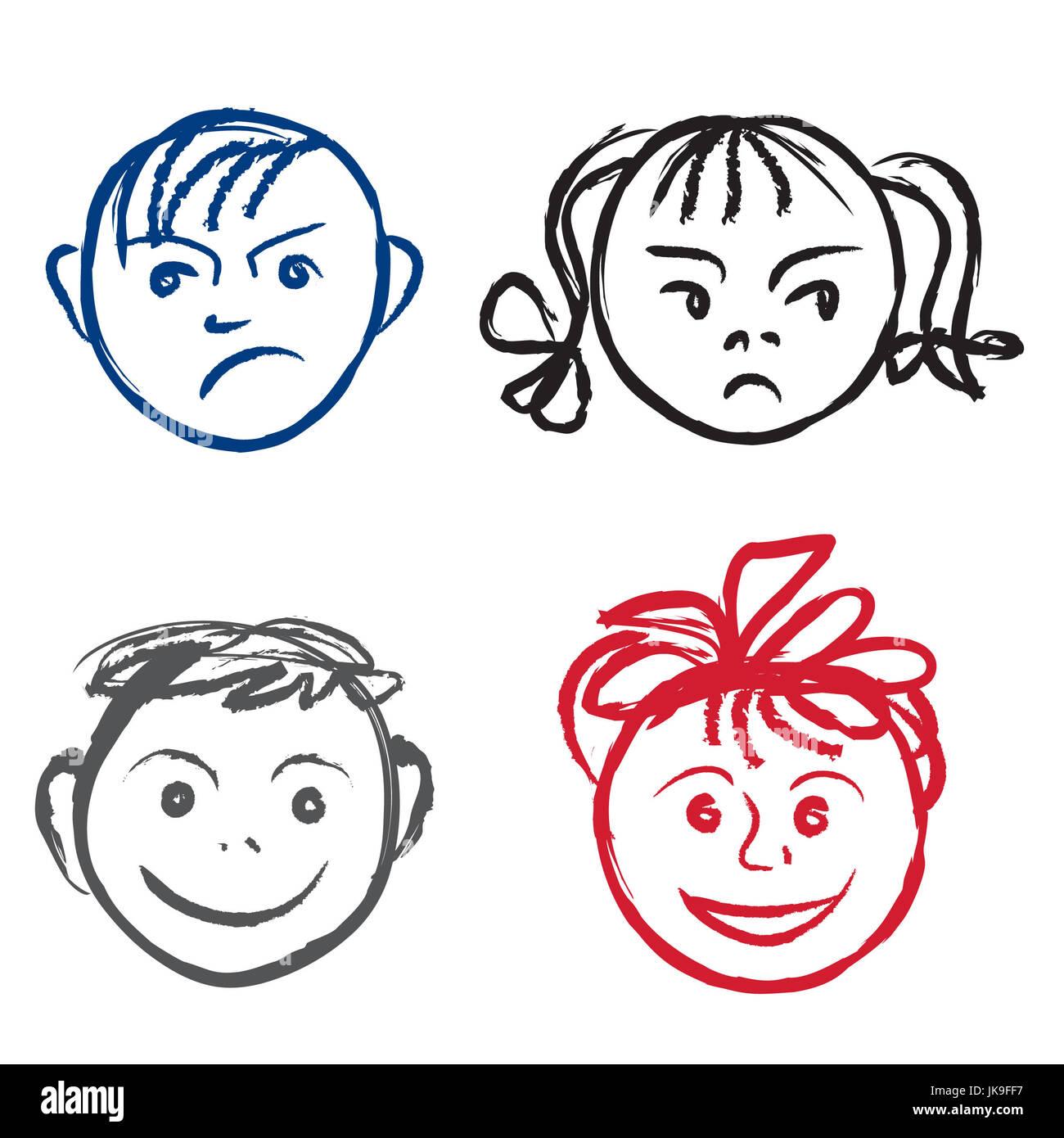 Los niños sonrisa y rostro triste caras perfil con diferentes expresiones imagen de stock