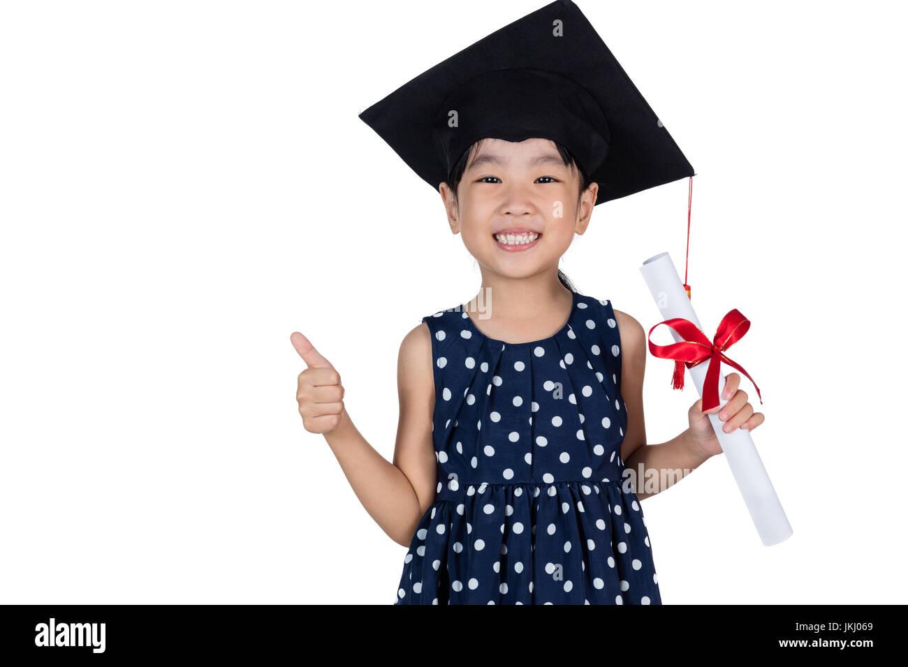 b57f70a60 Niña China Asia vestidos de graduación de la tapa y la celebración de  diploma en fondo