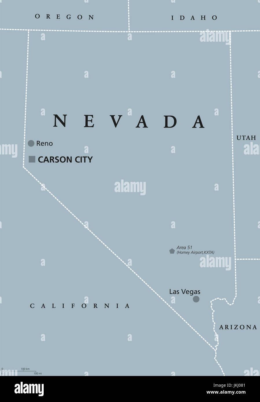 Nevada Mapa Politico Con Las Vegas Reno Y Capital Carson City Estado En El Oeste La Montana Del Oeste Sudoeste Y Regiones De Los Estados Unidos Fotografia De Stock Alamy
