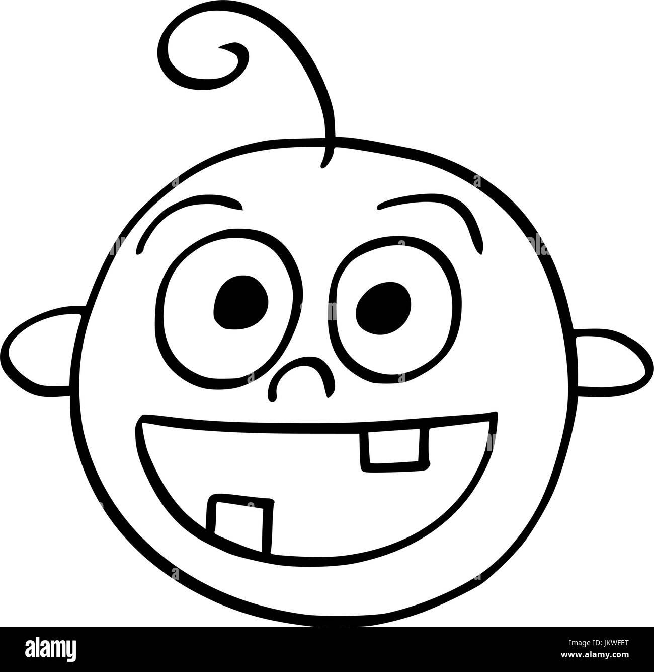 Dibujo A Mano Cartoon Ilustración Vectorial De Feliz Sonriente Cara