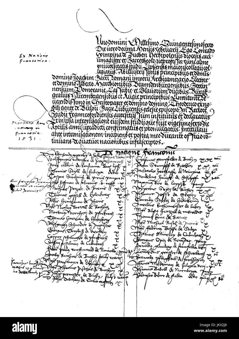 Mejorado: Digital, Facsímil de la primera página del libro, Martikelbuch, de la Universidad de Francfort del Oder, fundada en 1506 por el príncipe elector Jaochim I., Alemania, publicación desde el año 1882 Foto de stock