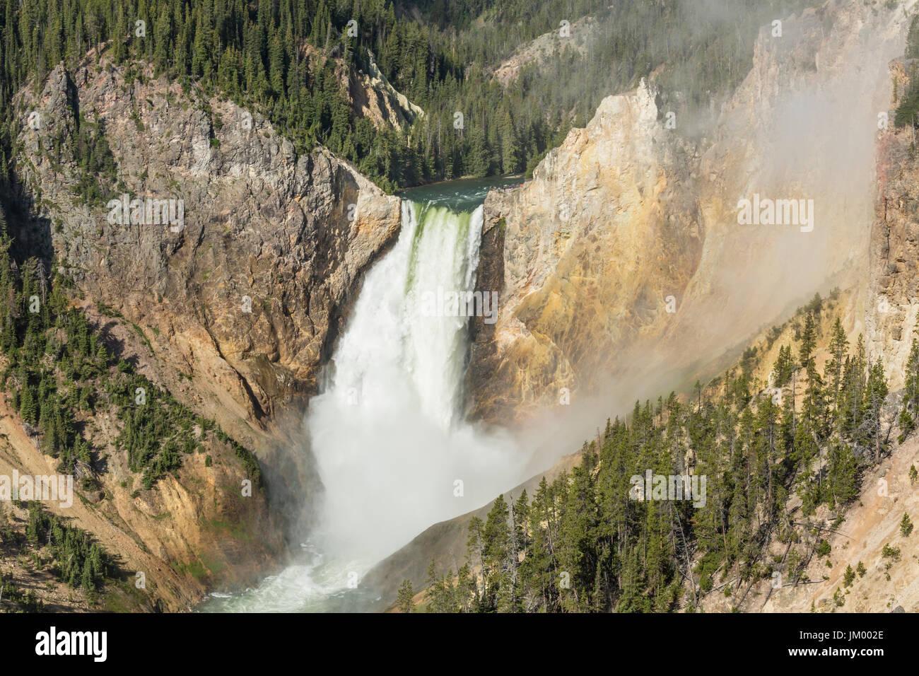 Mist enshrouds el Lower Falls de 300 pies en el Gran Cañón del Yellowstone, en el Parque Nacional Yellowstone, Wyoming Foto de stock