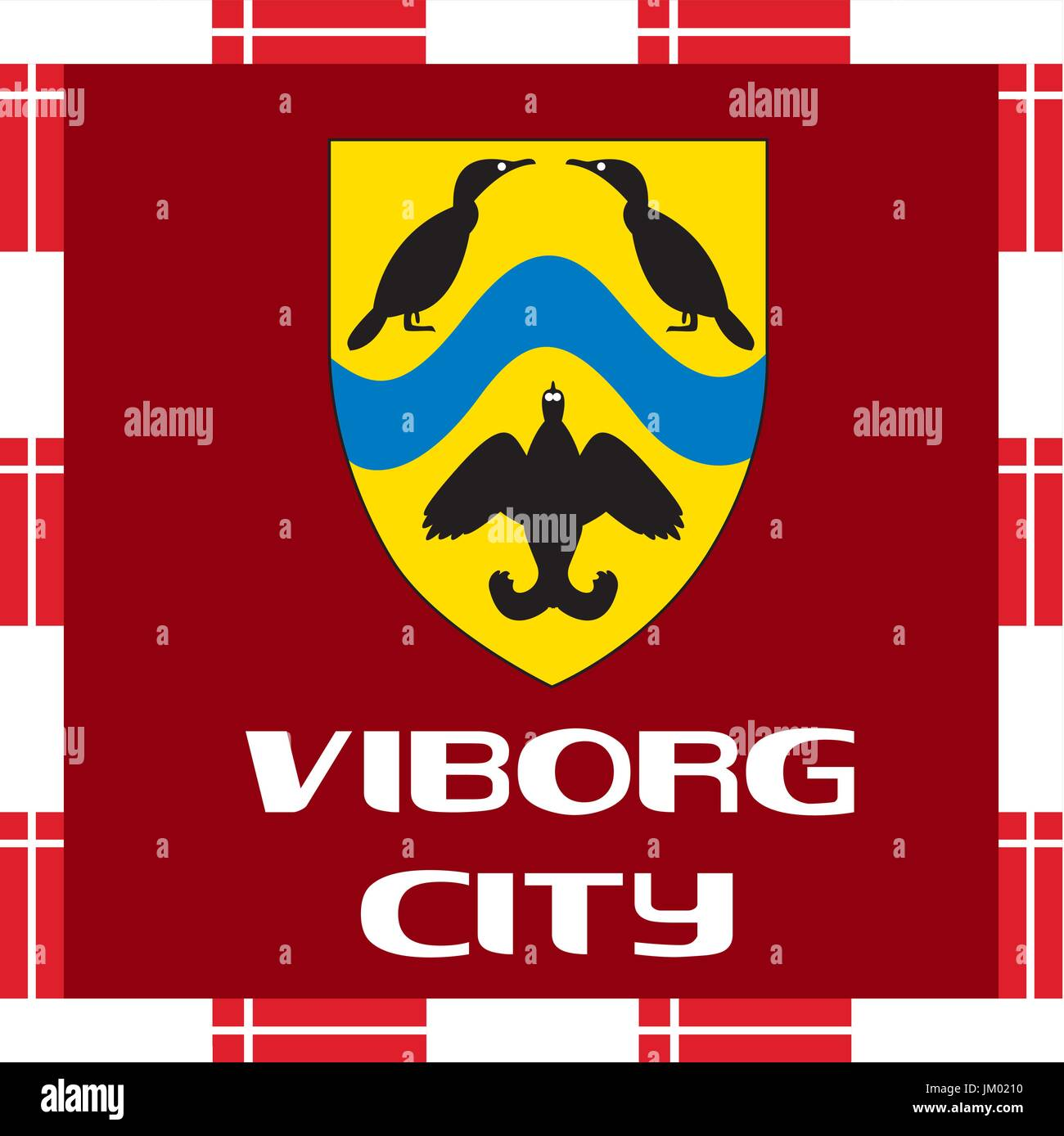 Enseñas nacionales de Dinamarca - Viborg ciudad Ilustración del Vector