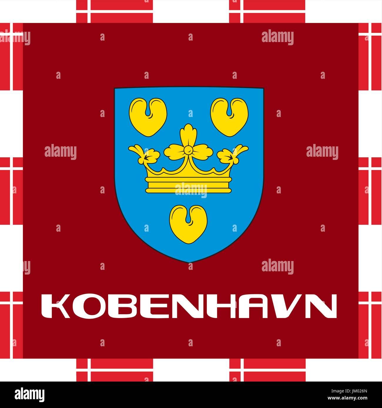 Enseñas nacionales de Dinamarca - Copenhagen Ilustración del Vector