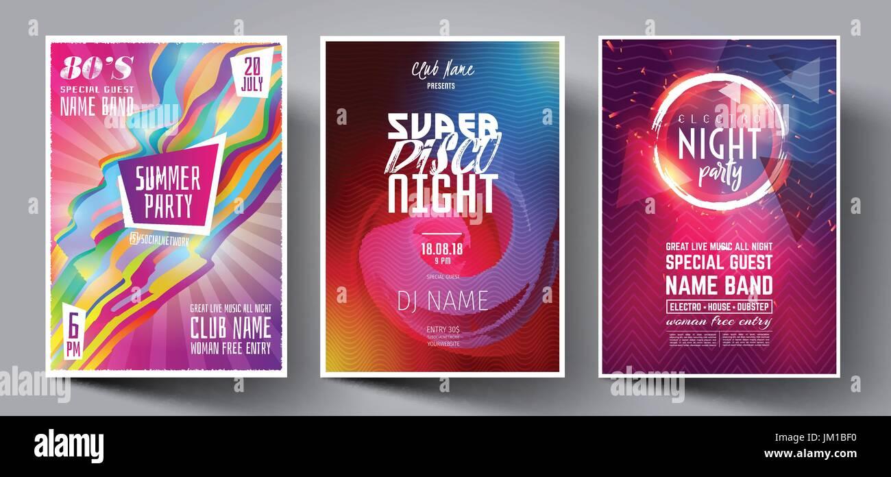 Club de baile noche Summer Party Flyer plantilla Diseño de folleto ...