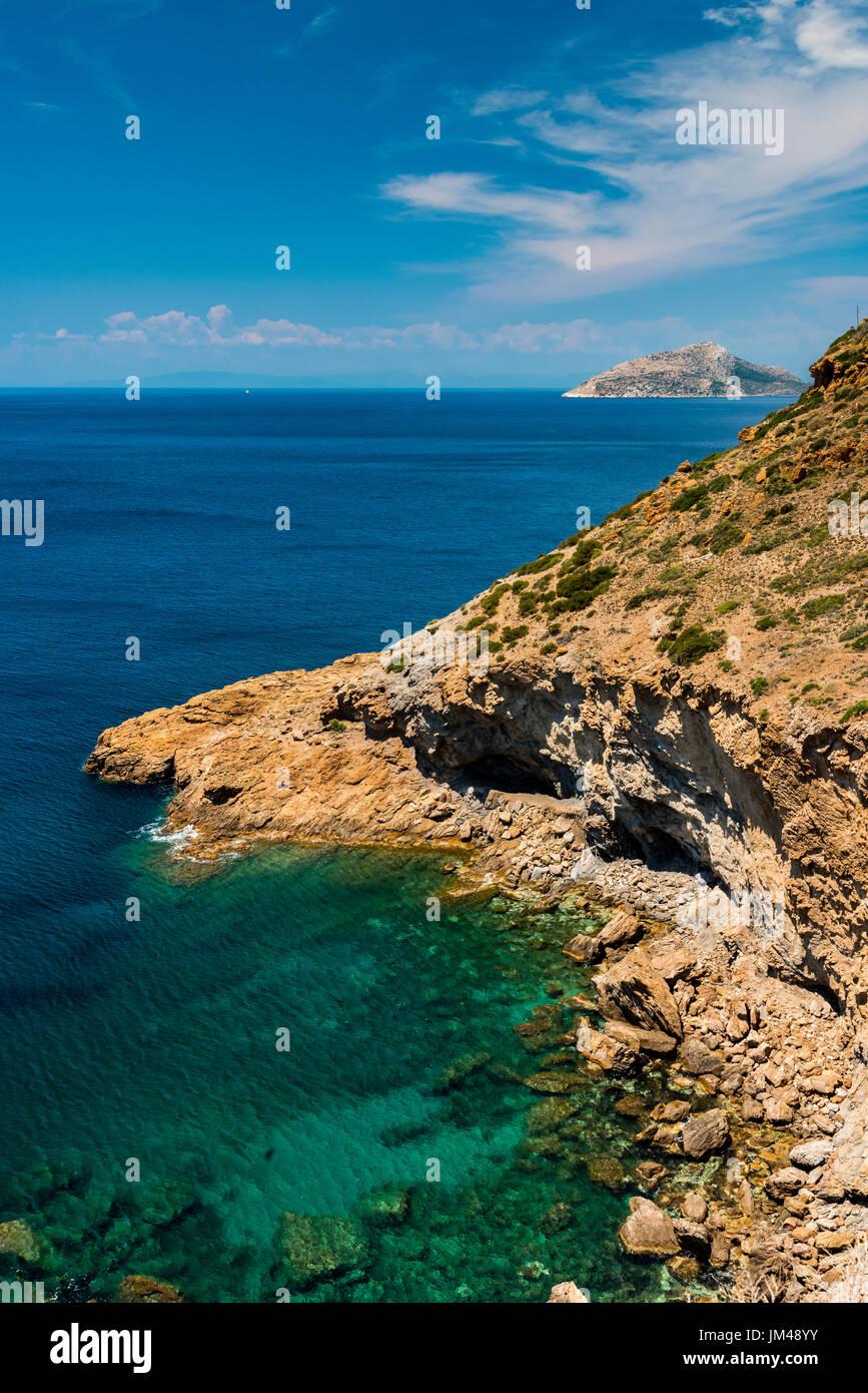 El cabo Sounion, Attica, Grecia Foto de stock