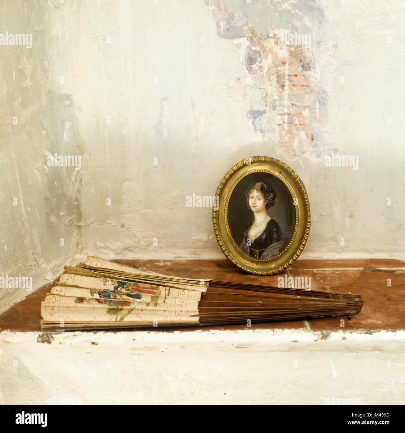 Pintura y abanicos Imagen De Stock