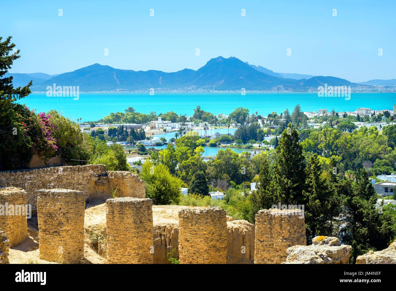 Paisaje con ruinas de Cartago. Túnez, Túnez, África Imagen De Stock
