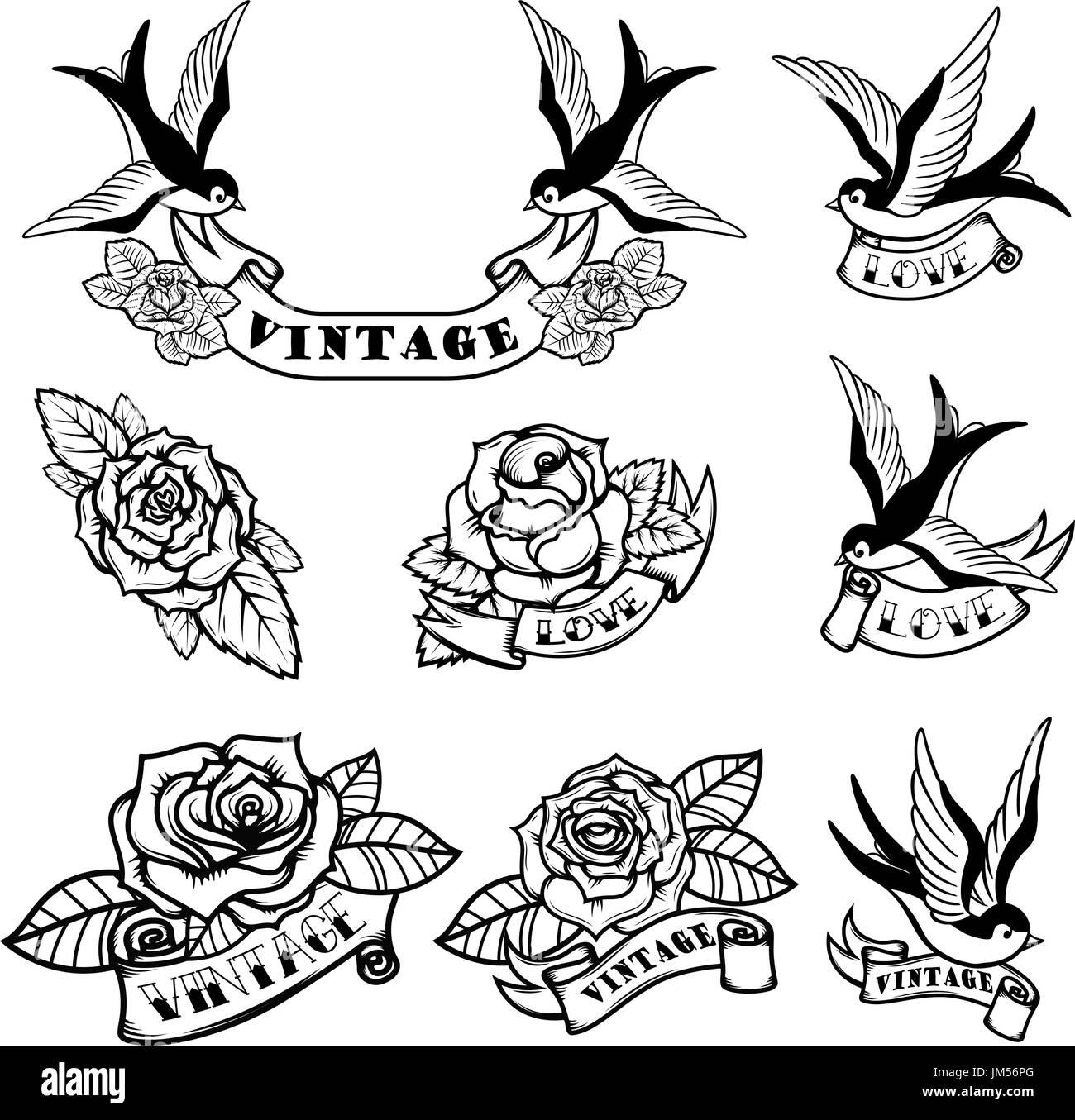 Conjunto De Plantillas De Tatuajes De Golondrinas Y Rosas Tatuaje