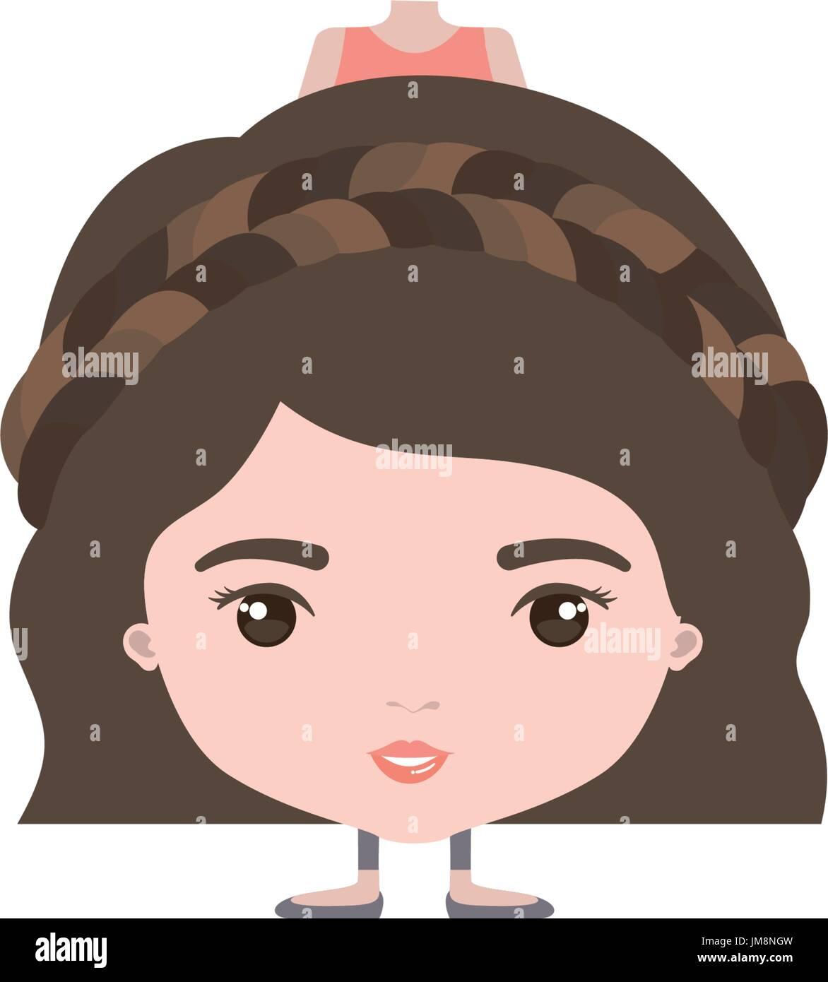 Colorido caricatura skinny en ropa de mujer con peinado corto ondulado y trenzado Ilustración del Vector