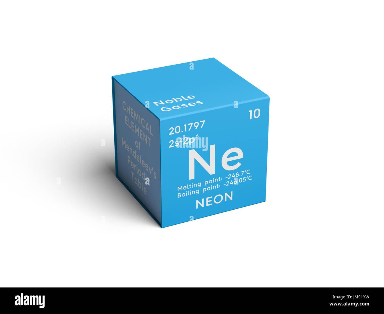 Luces de nen los gases nobles elemento qumico de la tabla los gases nobles elemento qumico de la tabla peridica de mendeleyev en nen square cube concepto creativo urtaz Image collections