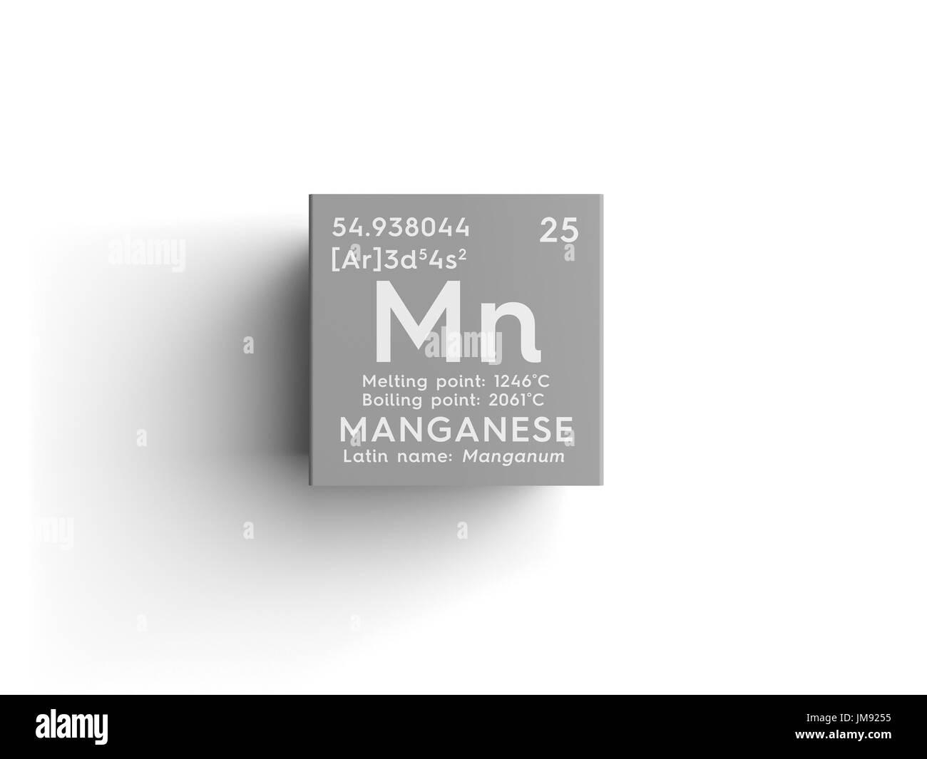 El manganeso manganum los metales de transicin elemento el manganeso manganum los metales de transicin elemento qumico de la tabla peridica de mendeleyev el manganeso en square cube concepto creativo urtaz Images