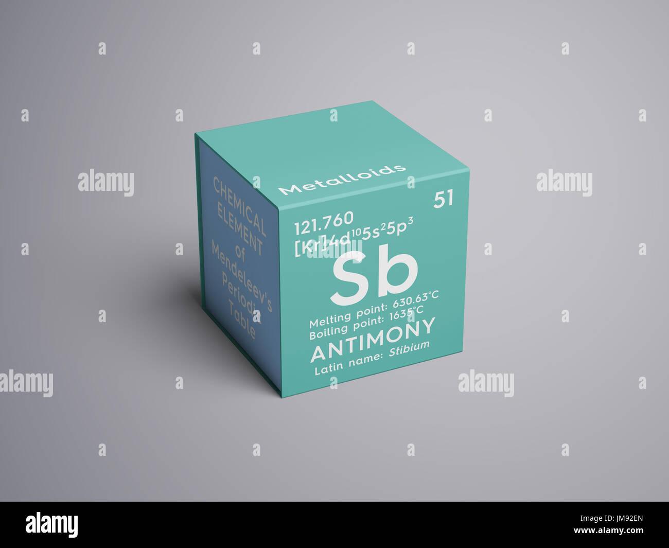 El antimonio stibium los metaloides elemento qumico de la los metaloides elemento qumico de la tabla peridica de mendeleyev antimonio en square cube concepto creativo urtaz Image collections