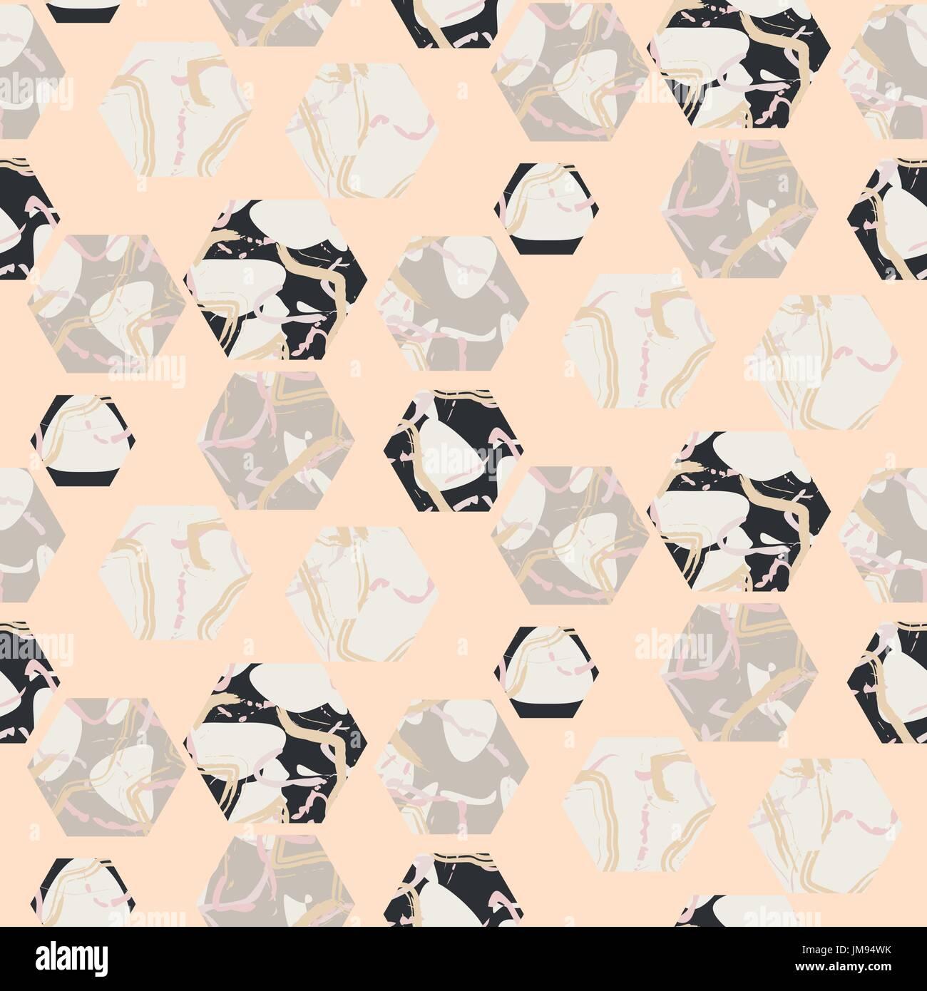 Los hexágonos de piedra de mármol rosa pálido textura fluida de vectores. Imagen De Stock