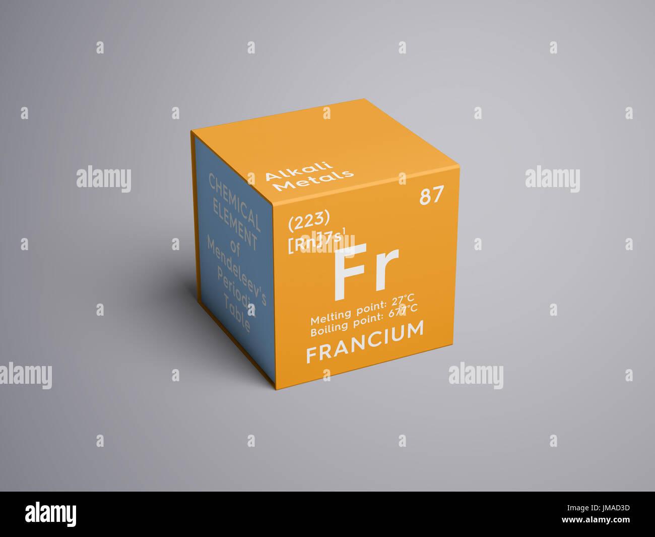 Francio metales alcalinos elemento qumico de la tabla peridica francio metales alcalinos elemento qumico de la tabla peridica de mendeleyev francio en square cube concepto creativo urtaz Gallery