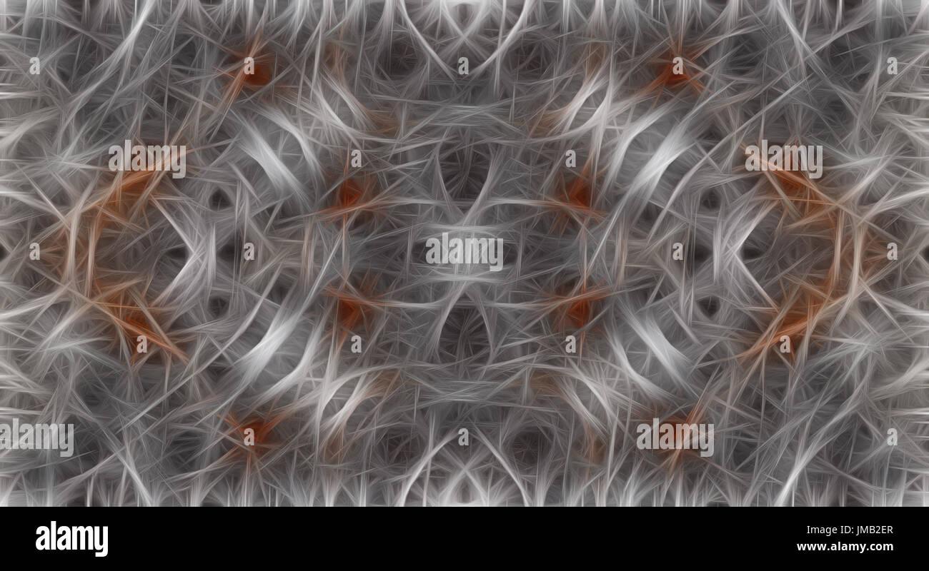 Resumen fondo gris con un patrón de color naranja parecido a una red neuronal Foto de stock