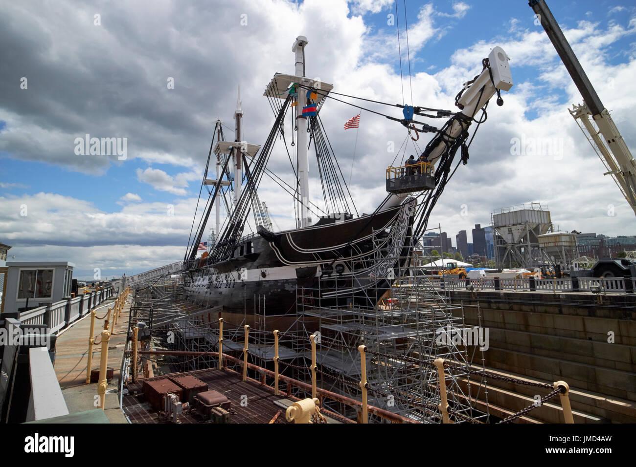 USS Constitution en dique seco, Charlestown Navy Yard Boston, EE.UU. Imagen De Stock