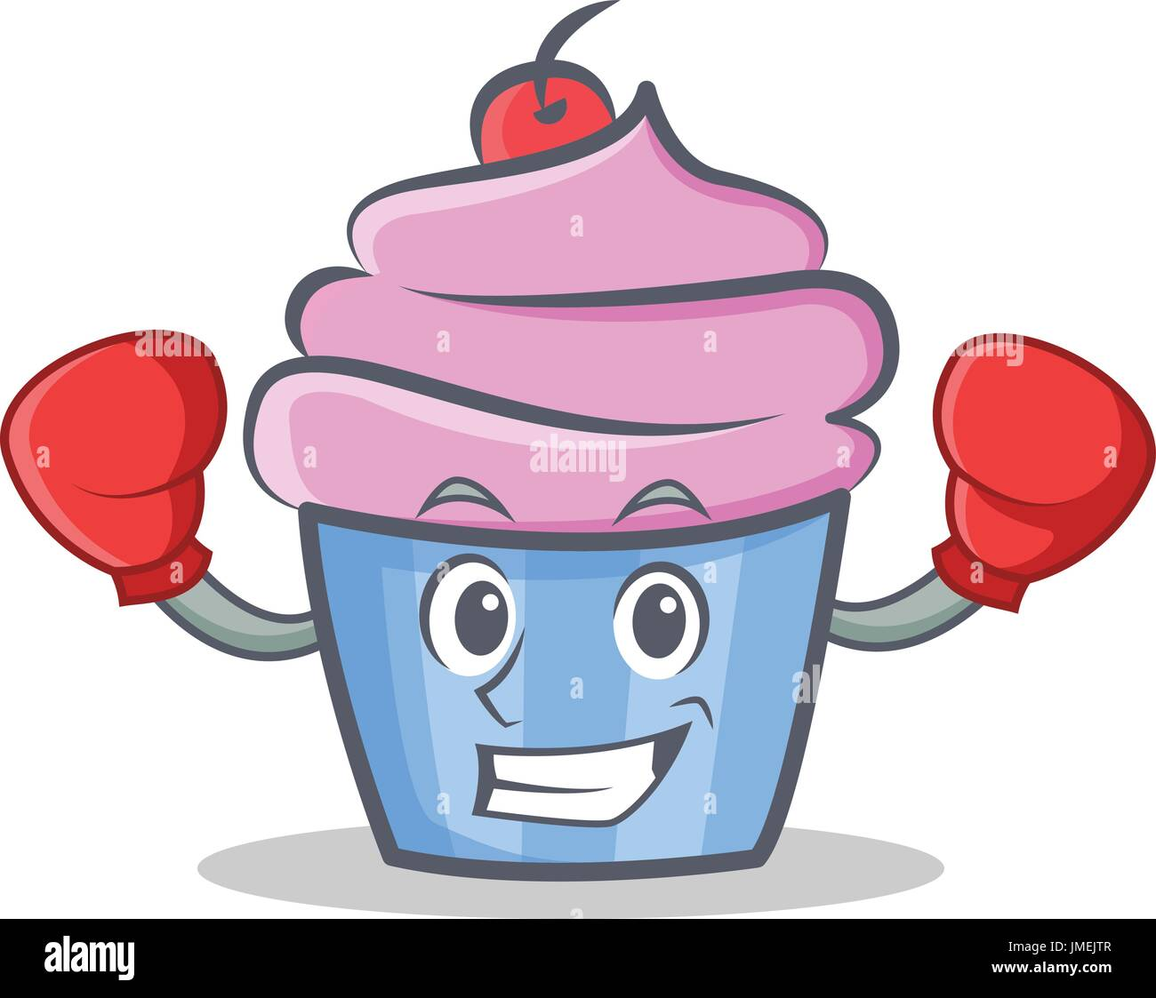 Boxeo Cupcake Personaje Ilustración Vectorial Del Estilo De Dibujos