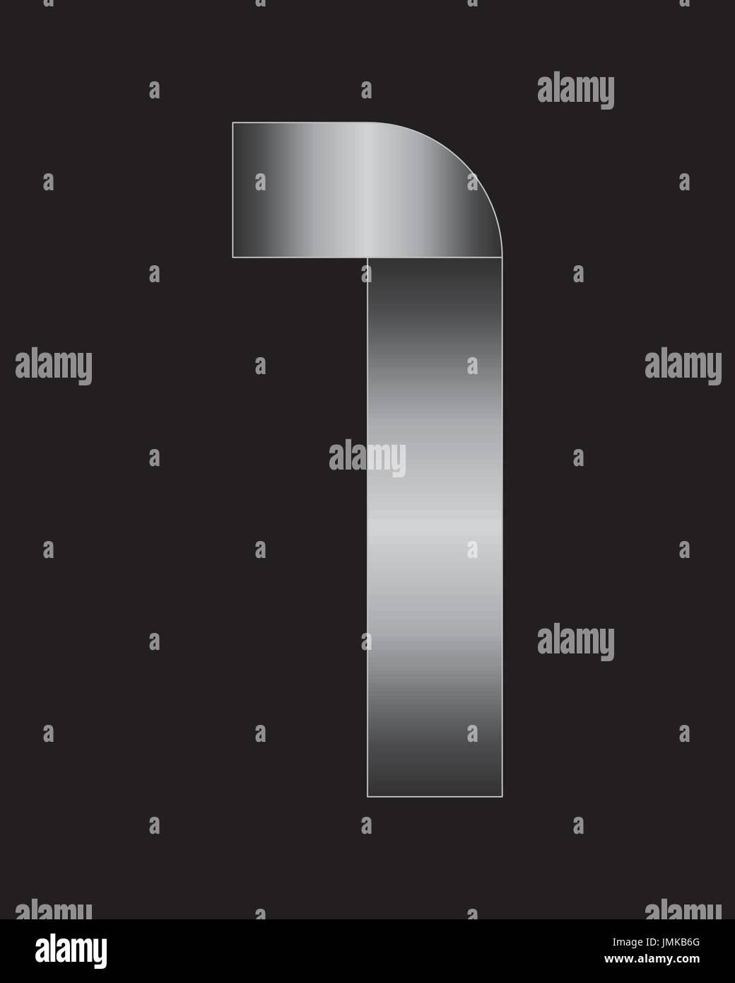 Rectangular de metal doblado font - número 1 Imagen De Stock