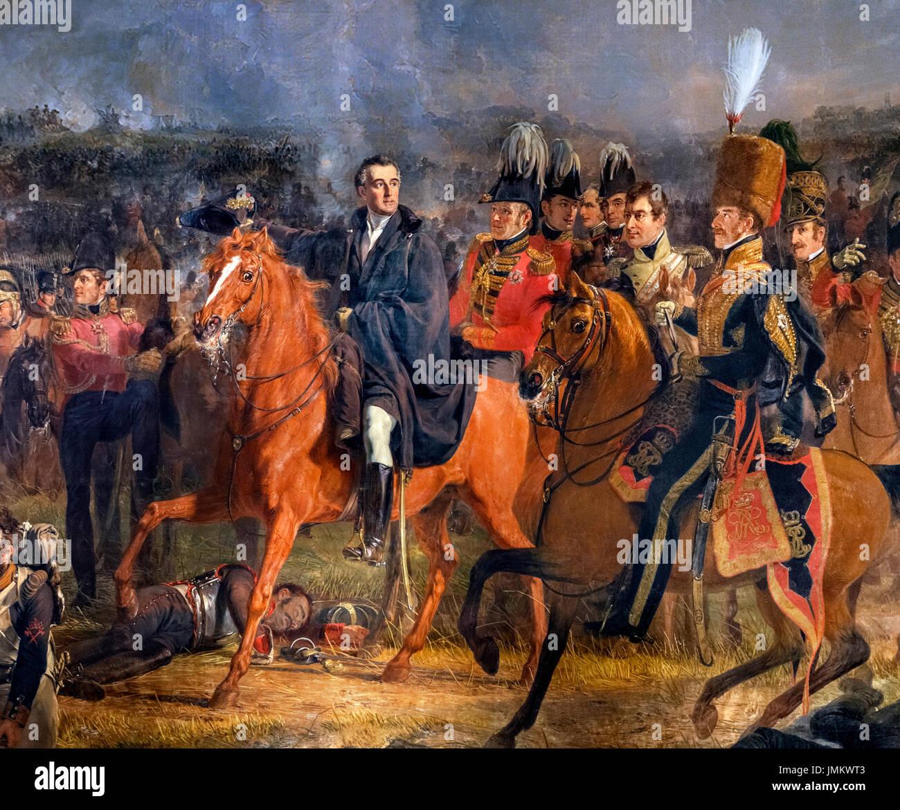La batalla de Waterloo por Jan Willem Pieneman (1779-1853), óleo sobre lienzo, 1824. La pintura muestra al duque de Wellington, a caballo, a la izquierda de la foto, en un momento decisivo en la batalla de Waterloo, el 18 de junio de 1815. Detalle de una pintura de mayor tamaño, JMKWT8. Imagen De Stock