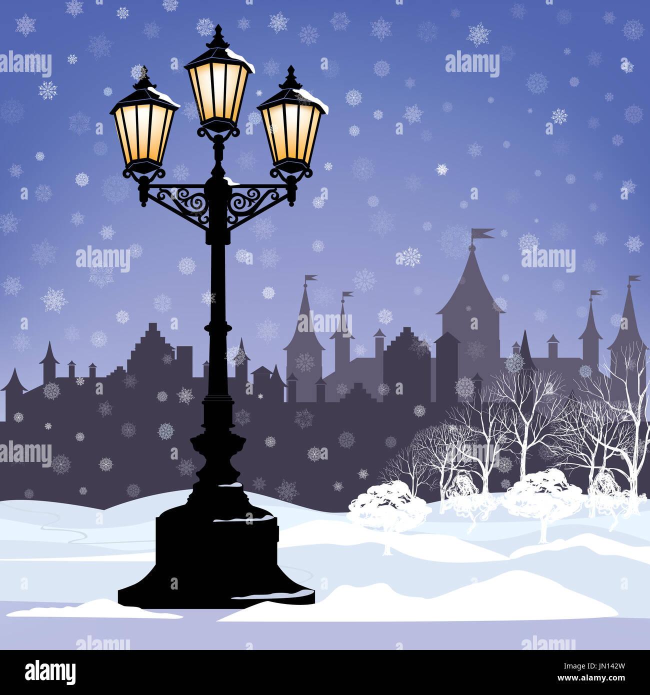 Navidad Paisaje invernal con calle luminosa linterna, copos de nieve y los árboles. Luz de old street en city park Snow alley. Imagen De Stock