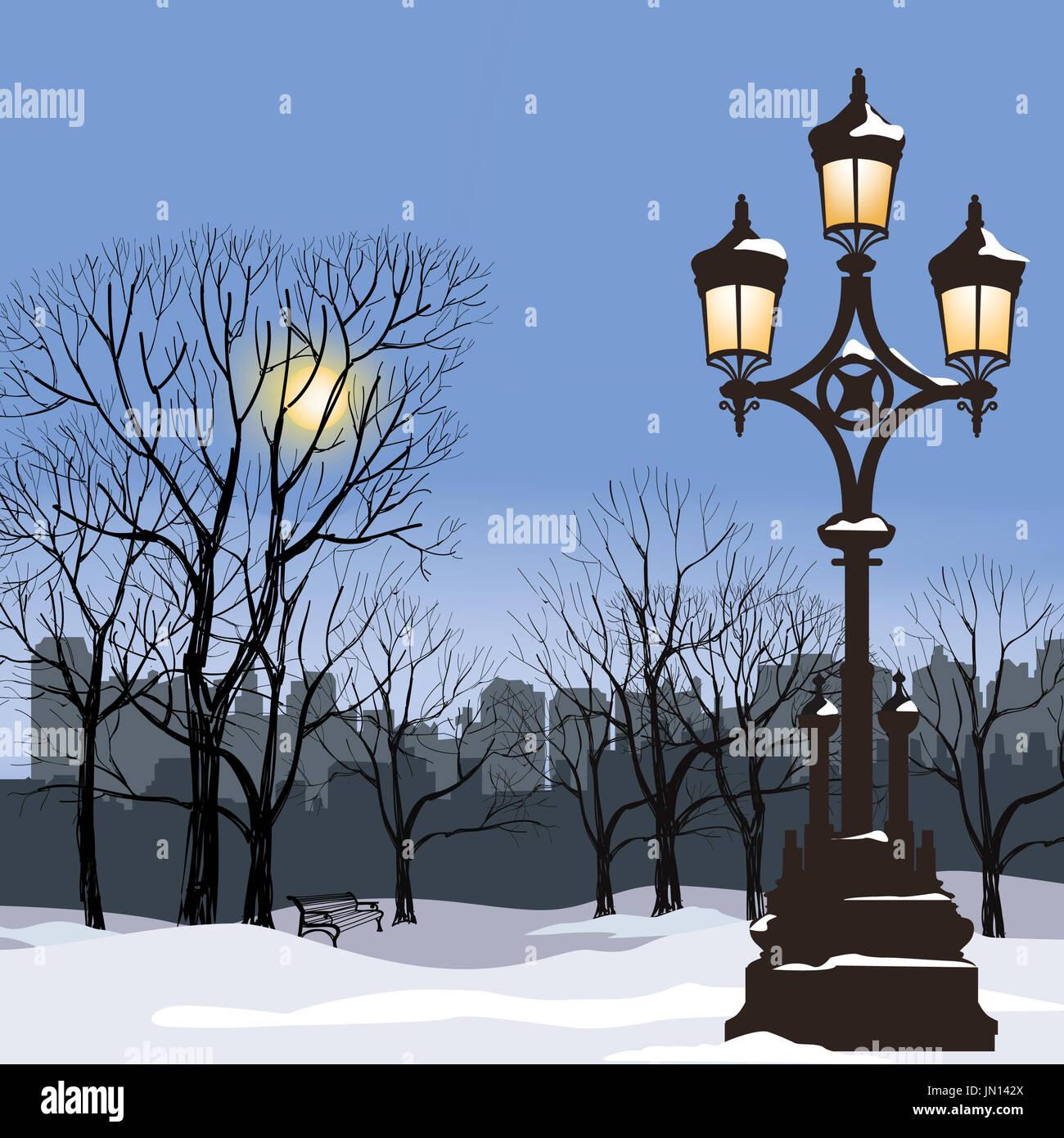 Navidad Paisaje invernal con luminosa lámpara de la calle, copos de nieve y los árboles. Luz de old street en city park Snow alley. Imagen De Stock