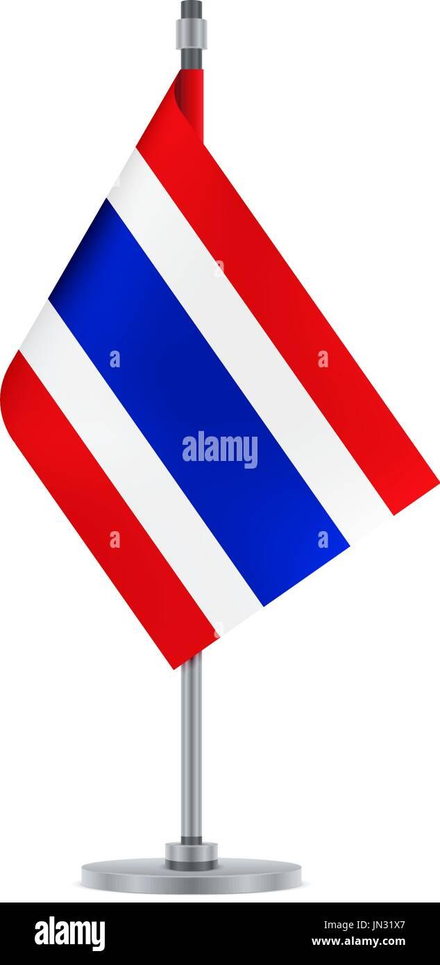 El diseño del pabellón. Bandera tailandesa colgando en el poste ...