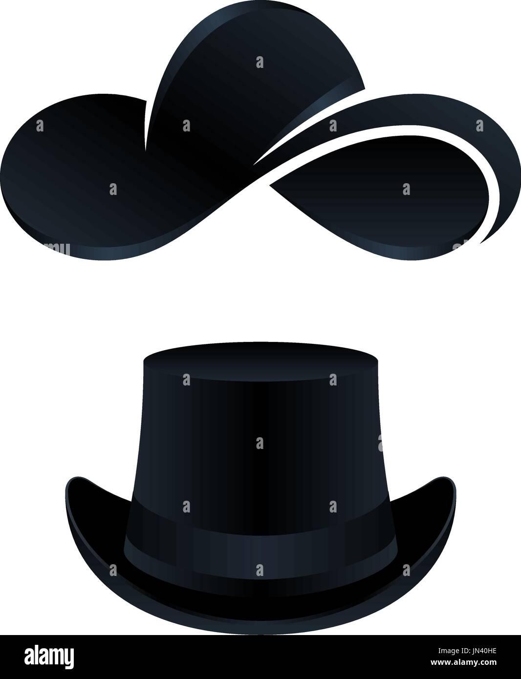 Diseño de iconos de sombrero negro para hombres y mujeres sobre un fondo  blanco. Ilustración vectorial iconos. 9560aceeb14