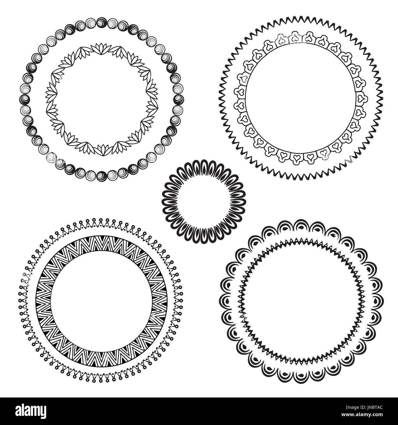 Conjunto de marcos. marcos de diferente forma en el doodle. estilo ...