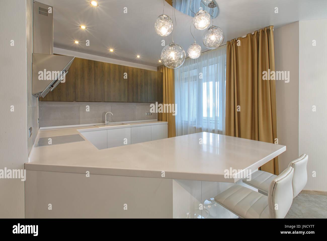 Espacio abierto contemporáneo cocina en un apartamento de lujo ...