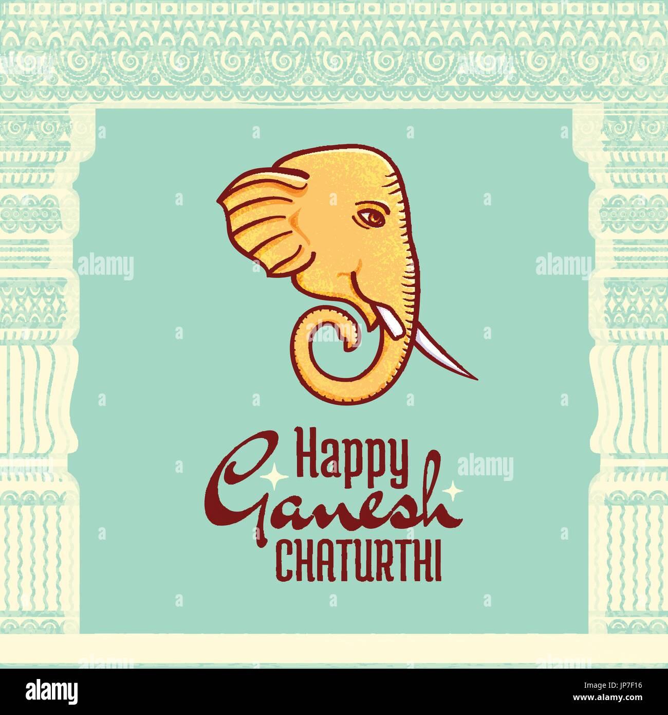Feliz Ganesh Chaturthi vector poster, festival hindú elemento de ...