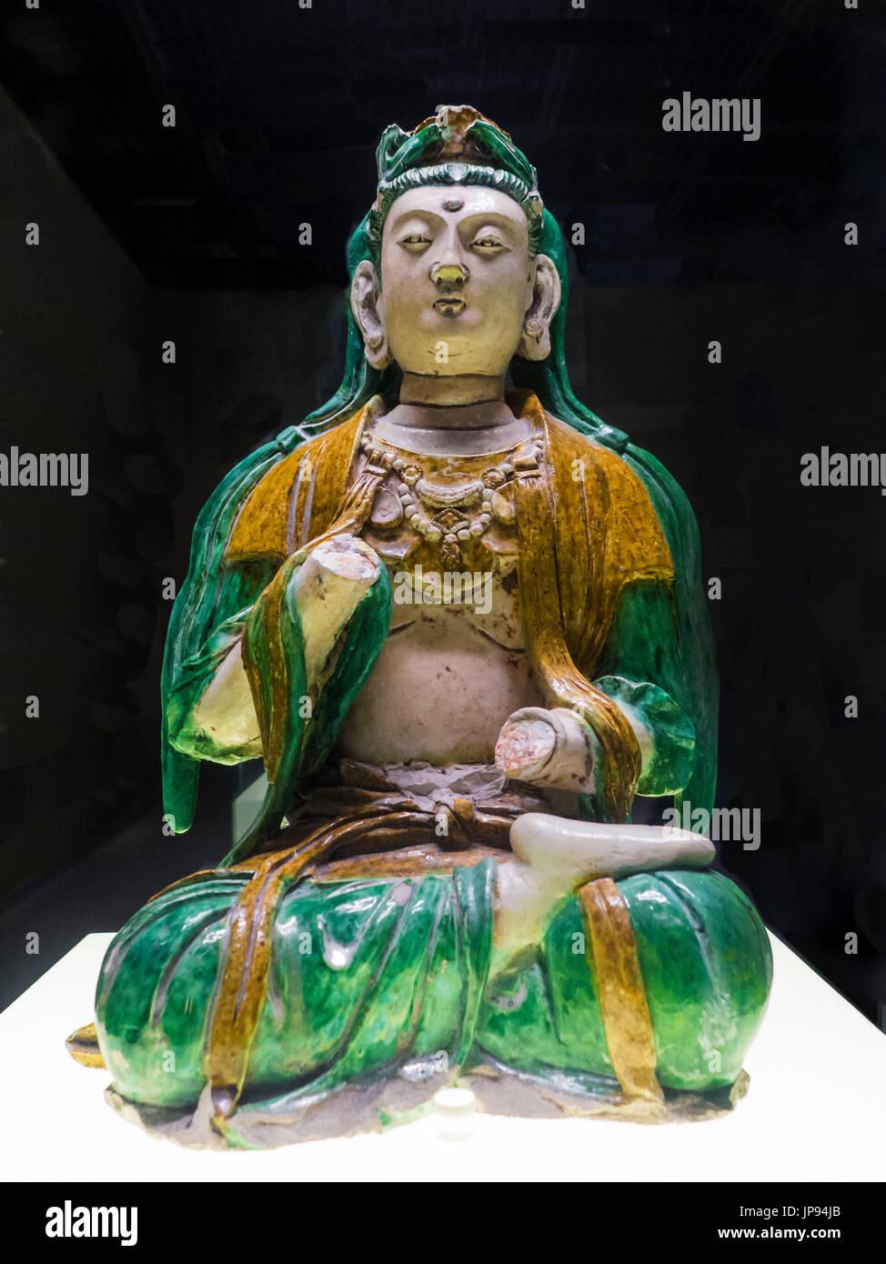 Bodhisattva tricolor (905 - 1125 DC) El Museo de la capital, Pekín, China Imagen De Stock