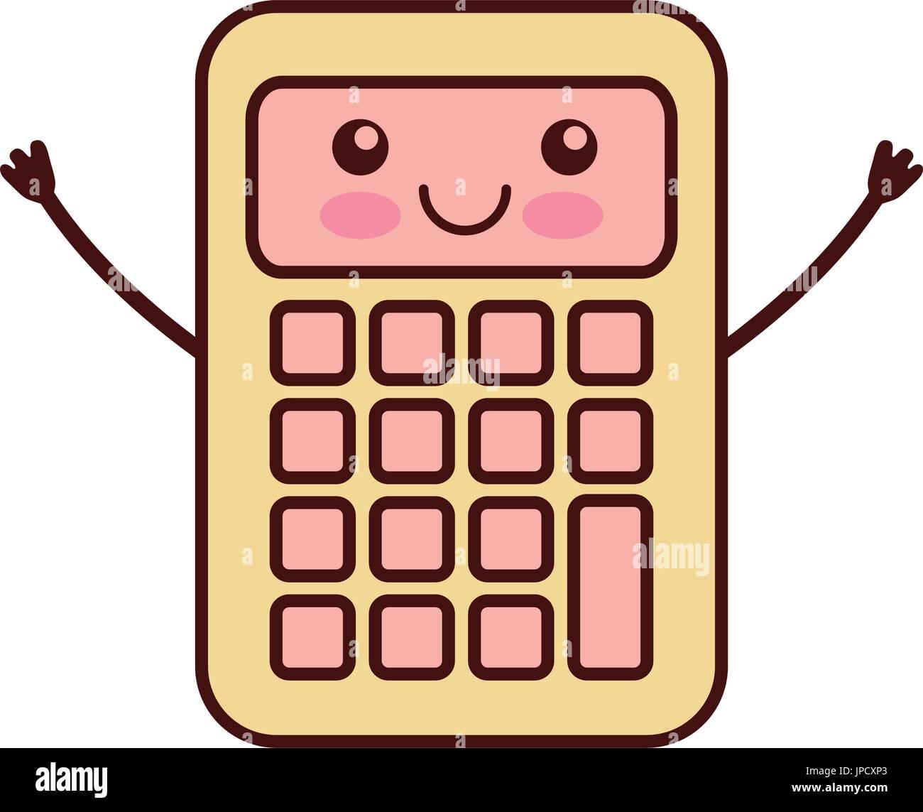 Calculadora Matemática Personaje Kawaii Ilustración Del Vector